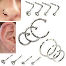 14x/set Stainless Steel Hinged Segment Nose Ring Bone Studs Hoop Body Pierc W8