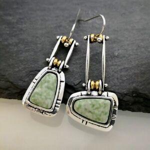 Unusual Ethnic Earrings Dangle Boho Silver Resin Turquoise