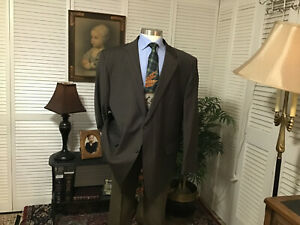 BIG & TALL BROWN STRIPED MENS SPORTS COAT SUIT JACKET BLAZER SIZE: 54L  #A6