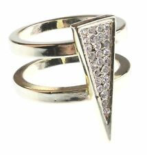 NEW Jules Smith 14K Gold Plated Cubic Zirconia Crystal Pavé Triangle Ring 7 NIB