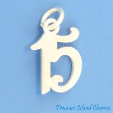 NUMBER 15 15TH BIRTHDAY ANNIVERSARY QUINCEANERA .925 Sterling Silver Charm