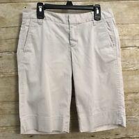 GAP Size 0 Bermuda Shorts Tan Khaki Chino Stretch Cotton Long Length Womens