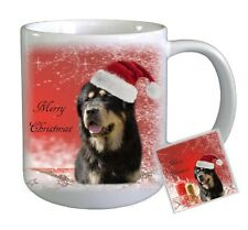 Tibetan Mastiff Dog Christmas Ceramic Mug and Coaster by Paws2Print