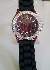 Geneva Zebra Print Deep Red/Black Crystal Encrusted Silicone Band Fashion Watch