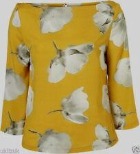 Topshop Mustard Yellow Floral Buttercup Blouse Top - Size 6