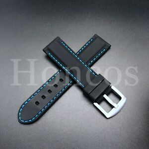 22 MM Black Rubber Silicone Soft Watch Band Strap Heavy Duty Blue Stitching Line