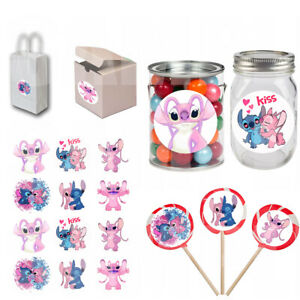 """Angel & Stitch Stickers 2.5"""" Round Party Favor Labels for Gift Bags/Boxes- 12 pc"""
