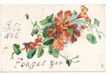 I'll Not Forget You, Flowers, Glitter, Antique Embossed Greetings Postcard