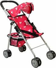 Foldable Doll Stroller Pink Heart Design Hood Seat Belt Basket Double Wheels