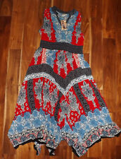 NWT Womens BILA Red White Blue Printed Maxi Dress Size XL X-Large $68