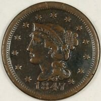 1847 Braided Hair Large Cent. VF. RAW3954/BE