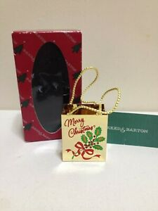 🔴⚪🔵 Vintage Reed and Barton Merry Christmas Gift Bag Ornament in Original Box