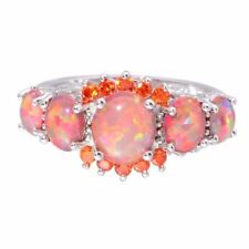 1pc Women Fire Opal Gemstone 925 Silver Filled Ring Wedding Jewelry Sz 5-11
