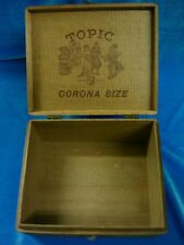ANTIQUE 1926 TOPIC CORONA SIZE DOVETAILED HINGED CIGAR BOX! 1ST DIST. OF PA.