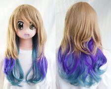 y-002 blonde Violet Harajuku Lolita 55cm Cosplay Perruque résistant à la chaleur