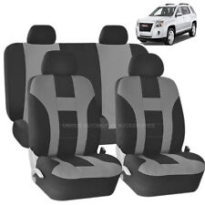 GRAY & BLACK DOUBLE STITCH SEAT COVERS 8PC SET for GMC ACADIA SIERRA