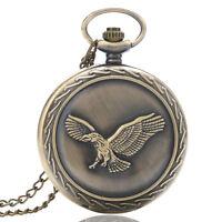 Vintage Bronze Eagle Quartz Pocket Watch Necklace Pendant Chain Mens Womens Gift