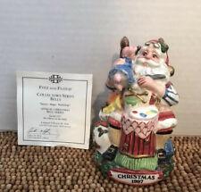 """Fitz & Floyd 1997 4th Edition Ceramic Santas Magic Workshop BELL 4.75"""" NIB"""