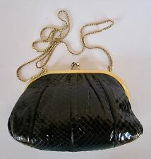 JUDITH LEIBER Black Snakeskin Evening Bag
