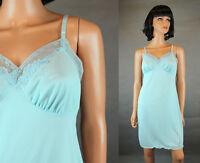 Vintage Full Slip Sz 34 50s Lorraine Blue Nylon Lace Embroidered Short NOS NWT
