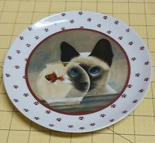 Siamese Cat Looking at Goldfish Bowl 1986 Lowell Herrero Decorative Plate 7.5""