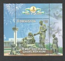 UZBEKISTAN 2020 75TH ANNIV. VICTORY OF WORLD WAR II SOUVENIR SHEET 1 STAMP MINT