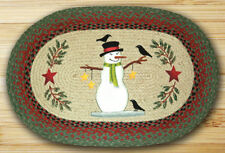 BRAIDED HAND STENCILED OVAL PATCH AREA RUG By EARTH RUGS--SNOWMAN WITH CROW
