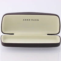 Anne Klein Lion Hard Sunglasses Case Hinged Brown Cream Designer Eyewear Holder