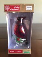 Winter Wonderland Red Cardinal Bird Night Light Swivel Plug in Base W/ Bulb New