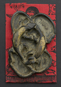 Jing Jok Amulette Gecko Lezard noir Thaï 2 queues Richesse Fortune  Loto 1535
