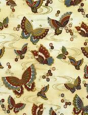 Timeless Treasures Metallic Zen Butterflies Cream 100% cotton fabric by the yard