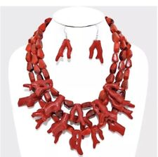 Dark Red Plastic Statement Coral Multi Layered Bead Chunky Necklace Earring Set