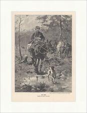 Zur Jagd Jozef v. Brandt Pferde Hunde Wald Tiere Jäger Wiese Horn Gewehr ED 0313