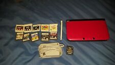 Nintendo 3DS XL Red and Black with Charger Stylus SD Card and 10 Games Bundle