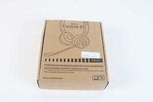 Jabra Evolve 65 HSC018W Stereo Wireless Bluetooth Cuffie/Doppio Bluetooth Nuovo