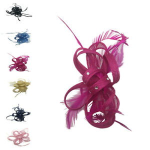 Party Fascinator Sinamay Flower Feathers New Wedding Hat Royal Ascot Ladies Day