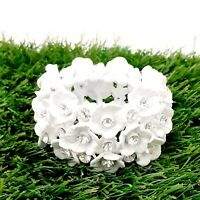 Vintage 1950s Milk White Floral Stretch Bracelet Bridal Wedding Jewellery