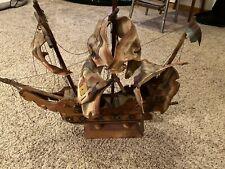 Wooden Mantel Pirate Ship W/ Cloth Mast