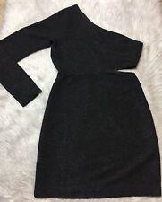 BCBGeneration Black Textured One Shoulder Side Cut Out Dress Sz M