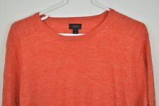 J CREW Sweater Medium Red Crewneck Long Sleeve Mens Cotton Linen