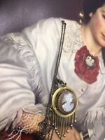 Antique Victorian Pendant Cameo Shell Necklace Etruscan Revival Tassel Pinchbeck