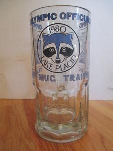 "1980 OFFICIAL WINTER OLYMPICS Training Mug 8"" B Heavy Glass Mug MIRACLE ON ICE"