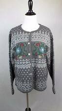 Vintage 80s Tally Ho Cardigan Sweater Button Front Nordic Pattern Womens Sz L