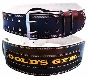 "GOLD GYM BELT WEIGHT LIFTING 4""LEATHER LUMBER BACK SUPPORT TRAINING EXERCISE"