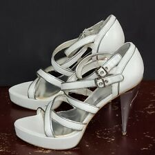 Baby Phat Womens Strappy Heels White Silver Chrome Platform Open Toe Sandal 9