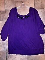 SALE @ Nearly New LANE BRYANT Slinky WOW Shirt Top Blouse Womens Sz 3X 26 / 28 W