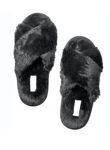 Victoria's Secret Pink Faux Fur Soft Furry Criss Cross Black Slippers Large L