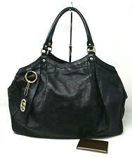 $1980 Gucci Guccissima Sukey Black Large Leather Tote Hand Bag Authentic Rare