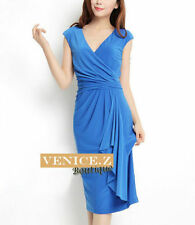 Polyester Knee-Length Wrap Dresses