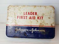 VINTAGE Leader FIRST AID Kit - JOHNSON & JOHNSON - METAL TIN 1950's w/ Supplies